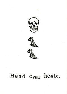 Head Over Heels Card  Funny Skull Skeleton Anatomy by ModDessert