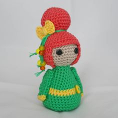 Handmade Crochet Amigurumi Geisha Doll.  Available to buy at www.blossombazaar.co.uk