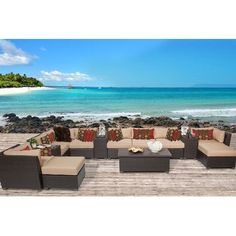TK Classics Barbados 14 Piece Seating Group with Cushion Fabric: