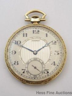 Heavy 14k Gold Very Art Deco Rare 21J Illini Illinois Antique Mens Pocket Watch #Illinois