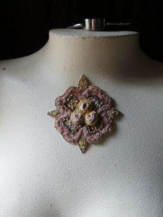 Beaded Applique Exquisite in Blush & Gold no 12 by MaryNotMartha