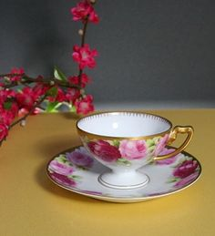roses pedestal cup and saucer