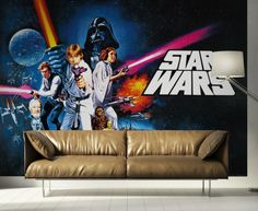 Star Wars Wallpaper Mural By WallandMore. Perfect for kid's bedroom. Fabric Blinds, Curtains With Blinds, Star Wars Wallpaper, Wallpaper Murals, Flexible Furniture, Kids Wall Murals, Ligne Roset, Cozy Corner, Working Area