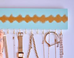 Necklace Hanger Blue and Gold / Jewelry Organizer / Accessories Wall Hanging Holder / Necklace Rack / Gold Hooks / Gifts for Her by LeLeeDesign on Etsy https://www.etsy.com/listing/242880710/necklace-hanger-blue-and-gold-jewelry