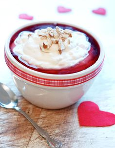 Riskrem!! A Norwegian dessert: Rice and cream topped with raspberry sauce.