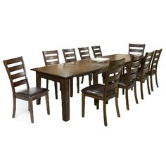 Table only=$999 goes from 64inch to 130 inches 11 Piece Dining Set - Kona Raisinc $1499, table has 3 leaves, seats 6 to 10