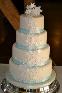This a Christmas wedding cake.