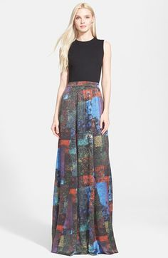 Alice + Olivia 'Drewcella Combo' Silk Maxi Dress (Nordstrom Exclusive) available at #Nordstrom