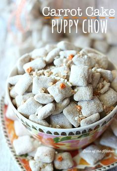 Crispy rice cereal covered with white chocolate and loaded with carrot cake flavor. It's the perfect snack for spring, or anytime of the year!