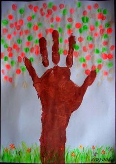 Prace plastyczne - Kolorowe kredki: Drzewo wiosną i jesienią - malowanie palcami Educational Crafts, Activities For Kids, Diy And Crafts, Kindergarten, Style Inspiration, Painting, Google, Note Cards, Paper