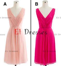 V-neck Different color cocktail dress ,homecoming dress ,bridesmaid dress
