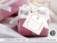Baby Pink BAPTISM Favor Tag, Girl Baptism Gift Tags, Girl Baptism Favor Tag, Pink and Gold Baptism, Baptism Bonbonniere, Thank you Tag by TweetPartyPrintables on Etsy Christening Invitations, Baptism Favors, Baptism Gifts For Girls, Girl Baptism, Favor Tags, Gift Tags, Rose Gift, Thank You Tags, As You Like