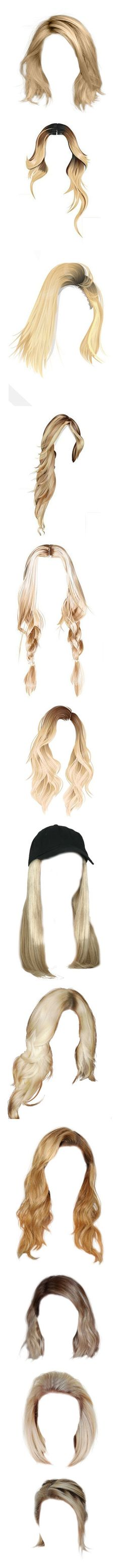 """""""New Hair"""" by ana-banana ❤ liked on Polyvore featuring hair, hairstyles, doll hair, wigs, accessories, hair accessories, beauty products, haircare, hair styling tools and blonde hair"""