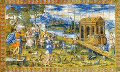 Panneau de céramique majolique peint par Masséot Abaquesne de Rouen vers 1550 et aujourd'hui exposé au Château d'Ecouen. Il représente un passage de la Bible : l'arche de Noé qui sauvera les animaux du déluge