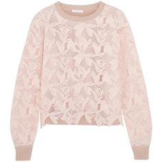 See by Chloé Guipure lace and knitted cotton sweater ($260) ❤ liked on Polyvore featuring tops, sweaters, pastel pink, lacy sweater, see by chloé, see by chloe sweater, pastel pink sweater and pastel pink top