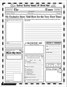 Instant Personal Poster Sets: Extra, Extra, Read All About Me!: 30 Big Write-and-Read Learning Posters Ready for Kids to Personalize and Display With Pride! School Worksheets, Writing Worksheets, Worksheets For Kids, Writing Activities, Printable Worksheets, Printables, All About Me Activities, First Day Of School Activities, Free Printable