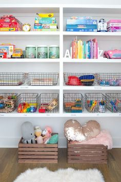 kid toy organization in playroom design, kid room storage ideas with open shelves and storage, kid space in bonus room, girl bedroom decor