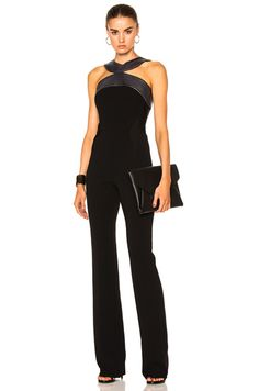 Fitted Cady Topstitch Jumpsuit – 黑色