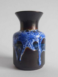 Lovely blue over brown Jasba Fat Lava vase, West German Pottery, N602 10 18 in Pottery, Porcelain & Glass, Date-Lined Ceramics, 1960s/ 1970s | eBay