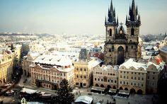 Praga, República Checa, de la ciudad, la Plaza Vieja, invierno, nieve, Fondos de pantalla - 1920x1200