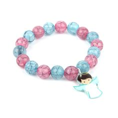Learn how to make this lovely Little Angel Bracelet with our new blue and pink crackle effect acrylic round beads!