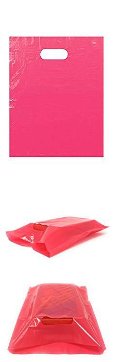 "Pink Bags. 100 Pack 9"" x 12"" with 1.25 mil Thickness Pink Merchandise Plastic Glossy Retail Bags 