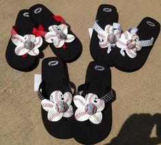e95051fe201db5 Baseball Flip Flops on Etsy