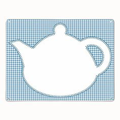 Applique Teapot on Blue Gingham Magnetic/Dry Wipe Board
