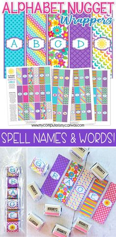 Printable Alphabet Nugget Wrappers - Spell NAMES, great for place settings, party favors, attach to a gift as a gift tag or spell words like THANKS! #mycomputerismycanvas
