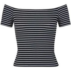 Black Stripe Bardot Top ($6.25) ❤ liked on Polyvore featuring tops, shirts, black, crop top, striped crop top, rayon shirts, short sleeve tops, jersey top and striped shirt