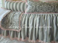 Baby Bedding Crib Set Pink and Grey Damask and Stripe 4 Piece Set. $263.00, via Etsy.