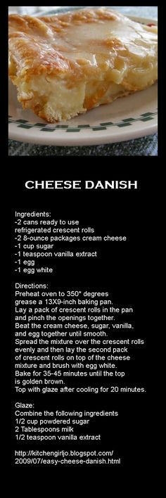 Really easy Cheese Danish! Breakfast Dishes, Breakfast Recipes, Dessert Recipes, Breakfast Ideas, Breakfast Bake, Breakfast Pastries, Delicious Desserts, Yummy Food, Tasty