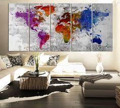 Splatter WORLD MAP Canvas Print - Watercolor Large 5 Panel Multicolor World Map Canvas Art Printing