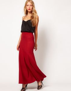 ASOS Maxi Skirt With Seam Detail in Rust UK 14 US 10 EUR 42 (rst15)