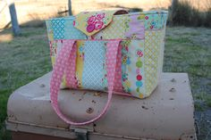 Patchwork nappy bag using the lovely Sidewalks fabric range by Riley Blake Designs