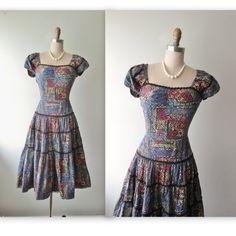 50's Tiki Dress // Vintage 1950's Tiki Print Full Cotton Summer Dress Palmetto Fashions S