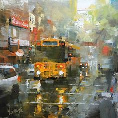 Mark Lague - School Bus in the Rain- Oil - Painting entry - March 2014 | BoldBrush Painting Competition FINALIST 11 Χ 11""