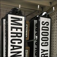 Visual merchandising props like these Mercantile and Dry Goods Retail Signs are both a creative and functional find. They add a vintage look and feel. Retail Fixtures, Store Fixtures, Vintage Props, Etsy Vintage, Retail Signs, Retail Merchandising, Dry Goods, Antique Stores, Wood Construction