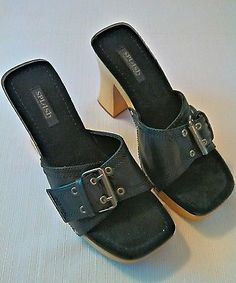 Splash Women's Leather & Wood Platform Heeled Sandal Size 9 #B42