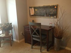 Karli's room, metal shelf made into a chalkboard/magnetic board. Painted chair with chalk paint.
