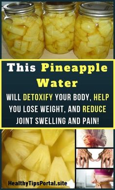 This Pineapple Water Will Detoxify Your Body, Help You Lose Weight, And Reduce Joint Swelling And Pain! - Healthy Food detox drinks This Pineapple Water Will Detoxify Your Body, Help You Lose Weight, And Reduce Joint Swelling And Pain Diet Drinks, Healthy Drinks, Healthy Eating, Beverages, Body Detox Drinks, Fat Burning Detox Drinks, Clean Eating, Healthy Detox, Healthy Tips