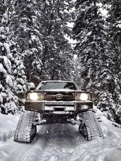 Toyota Tacoma on snow tracks