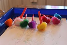 Toddler Craft - Ice Painting - Brilliant idea using the sticks to keep hands more food coloring free
