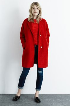 Winter Coats | Red BOUCLE COAT | Warehouse