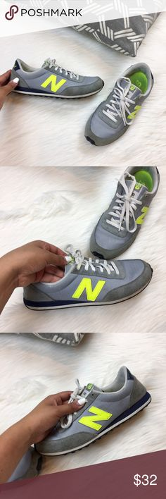 low rise new balance sneakers my partners in crime, my day ones, my go-to sneakers no longer fit me! as you can tell they have been pre-loved so much but still have so much potential to them. The gray and navy blue mixture allowed me to wear them with many outfits while the neon yellow added a fun pop of color and character! accepting best offer on these! 👟 New Balance Shoes Sneakers