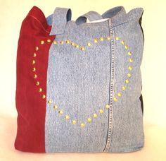 eco bag, denim, jeans, dżins, recycling, buy, heart, blue, blue jeans, shopper bag, weekend bag, big bag, designer bag, designer