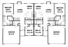 Plan # 2190A - Duplex Ranch | First floor plan