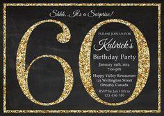 60th birthday invitation. Gold Glitter Birthday Party by arthomer, $10.00