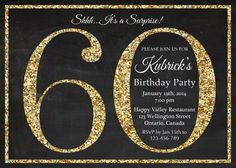 60th birthday invitation. Gold Glitter Birthday Party by arthomer, $10.00
