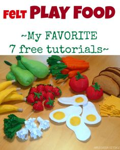 Have a look at 7 of my favorite (free) felt play food TUTORIALS for home-made felt fruit and vegetables. (And several tips on how to choose the right felt. Sewing Patterns For Kids, Sewing Projects For Kids, Sewing For Kids, Free Sewing, Felt Diy, Felt Crafts, Softies, Felt Fruit, Felt Play Food
